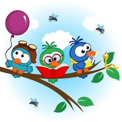 birds on tree reads,eats, on balloon - vector illustration, eps