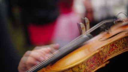 musician playing violin close up