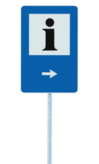 Info sign blue, black i letter icon, right hand arrow