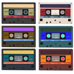 Collection of vector retro audio cassettes. Set of different