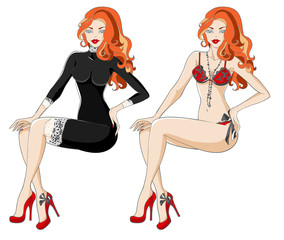 Red-haired woman in black dress with lace and underwear