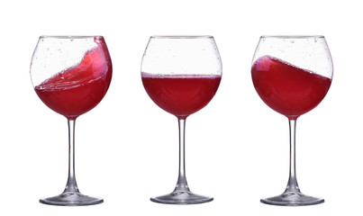 set of red wine glass splash isolated on white
