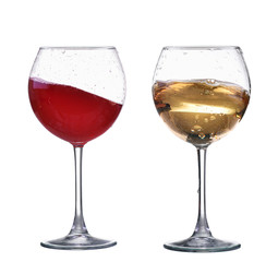Red and white wine splash wave in glass isolated