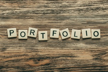 Portfolio. Portfolio word in vintage wooden blocks