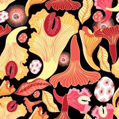 bright pattern of mushrooms