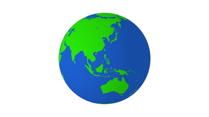 Rotating earth 4K green and blue with white background