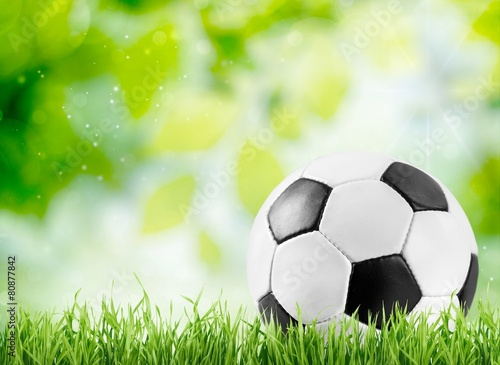 Ball. Soccer ball on wooden background