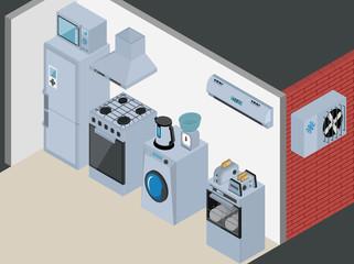 Household Icons appliances. Isometric Kitchen Appliances. Major