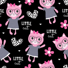 seamless cute fashion cat pattern vector illustration