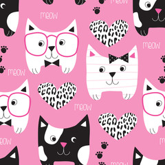 seamless pink cat pattern vector illustration