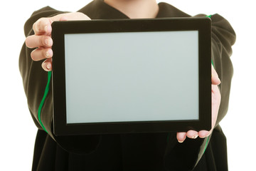 woman lawyer holding blank tablet