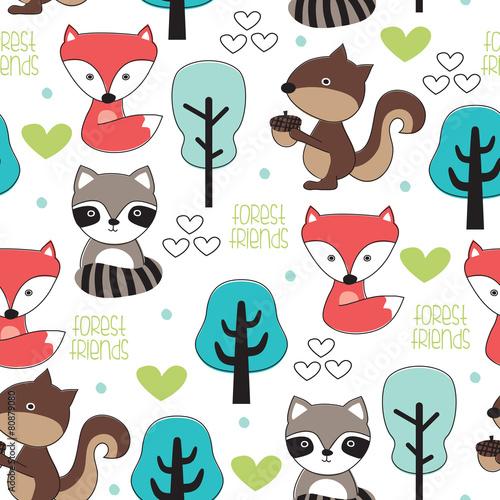 forest animal pattern vector illustration