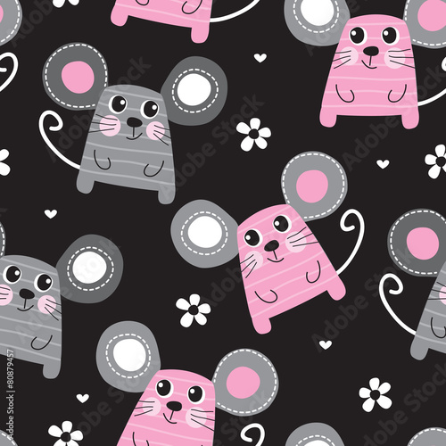 Fototapeta seamless cute mouse pattern vector illustration