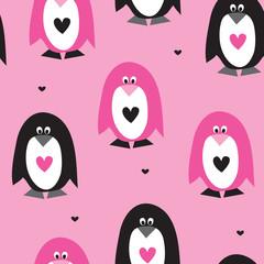 seamless pink penguin pattern vector illustration