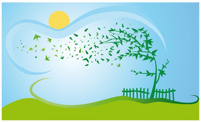 spring concept with green tree and swallow over country meadow