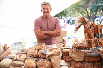 Male Bakery Stall Holder At Farmers Fresh Food Market