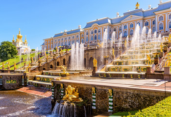 Peterhof Palace with Grand Cascade in St Petersburg
