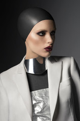 Fashion shot in silver outfit