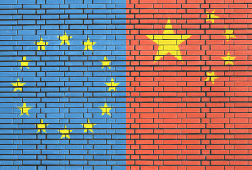Europe - China flags on wall