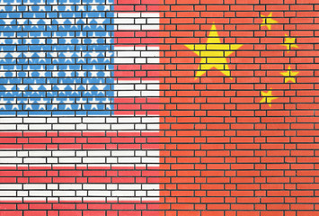 USA - China flags on wall