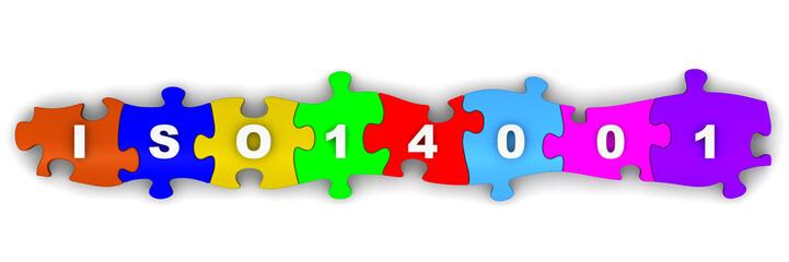 ISO 14001. Надпись на разноцветных пазлах