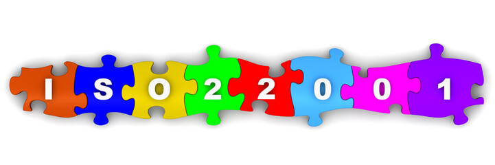 ISO 22001. Надпись на разноцветных пазлах
