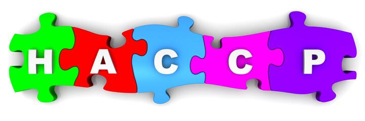HACCP. Надпись на разноцветных пазлах