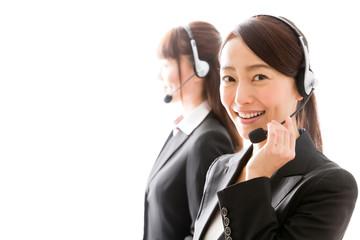 asian businesswomen using headset