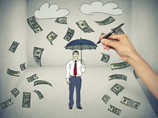 Sketch of a man under a money rain isolated gray background