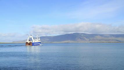 ship boat near glacier
