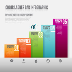 Color Ladder Bar Infographic