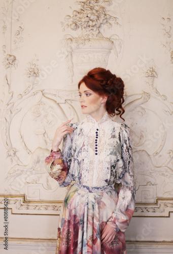 beautiful woman posing in luxury palace - 80885620