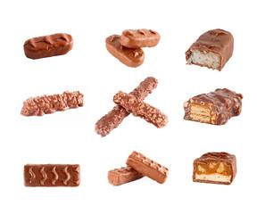 chocolate bars set isolated on white