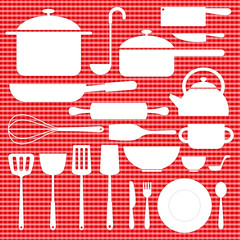kitchenware icon on red table plaid