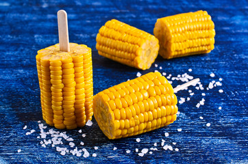 Cut corn on the cob on a stick