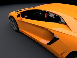 New CG 3d render of generic luxury detail sports car