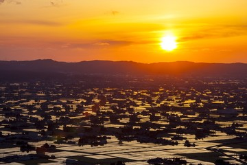 Sunset at flooded rice field, Sankyoson, Toyama, Japan
