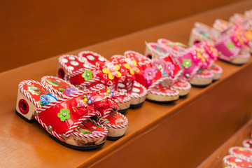 variety of the colorful child shoes