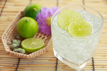 Glass of water with lemon and mint - Stock Image