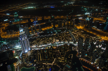 Panorama of night Dubai, UAE