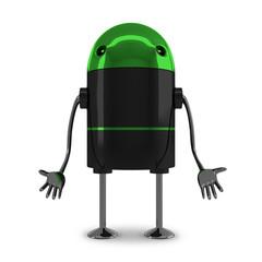 Sad robot isolated