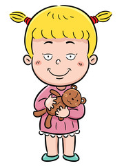 Vector Illustration of Girl Hugging teddy bear