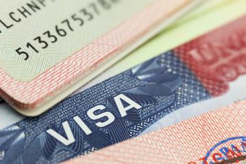 USA visa in a passport background