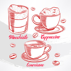 types of coffee. sketch - 2