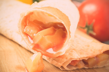 Vegetable stuffing in tortilla