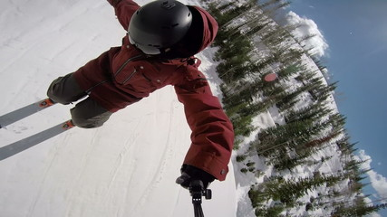 POV Extreme Skier Doing 360
