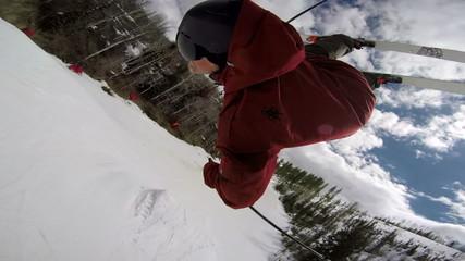 POV Skier Doing Backflip
