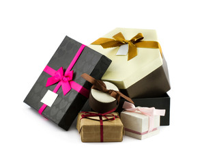 Gift boxes decorated with bows and ribbons
