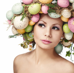 Easter Woman with Colorful Eggs