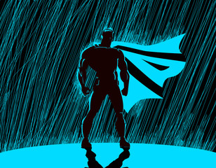 Superhero in rain